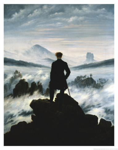 """The Wanderer Above the Sea of Fog""   Der Wanderer über dem Nebelmeer Caspar David Friedrich, 1818"