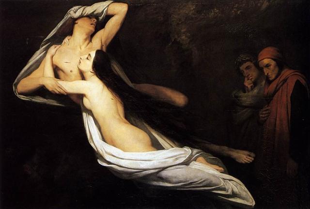 """""""Francesca da Rimini and Paolo Malatesta appraised by Dante and Virgil"""" Ary Scheffer, 1835"""