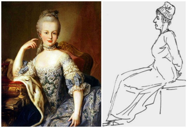 Marie Antoinette at age 12 by Martin van Meytens, circa 1767-1768 and Sketch of Marie Antoinette on the way to the Guillotine, Jacques-Louis David,  October 16, 1793