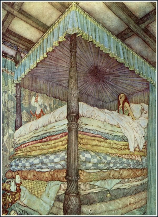 """The Princess and The Pea,"" Stories from Hans Andersen, illustration by Edmund Dulac, 1911."