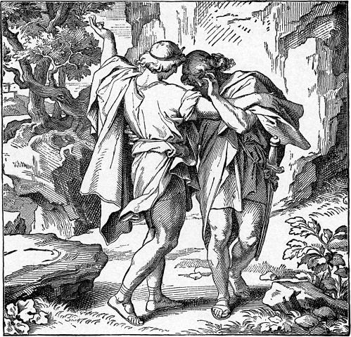 David and Jonathan, Illustration from The New World Encyclopedia