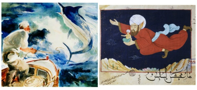 "Scene from The Old Man and the Sea and  ""Aladdin Transported by the Genie"" Scene from 1001 Nights"