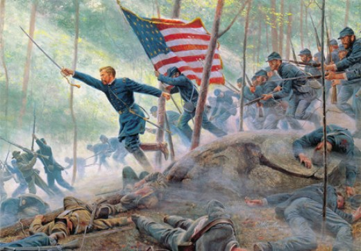 Joshua Chamberlain at Little Round Top, July 3, 1863