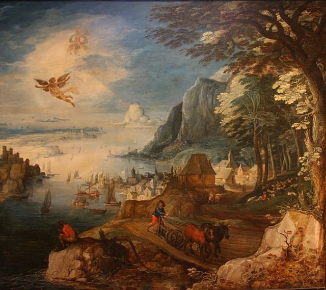 """Landscape with the Fall of Icarus"" Joos de Momper 1564-1635"