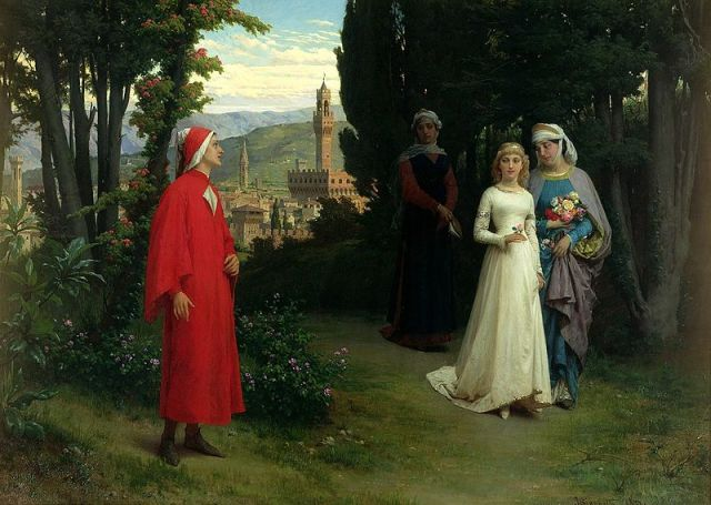"""First Meeting of Dante and Beatrice"" Raffaele Giannetti, 1877"