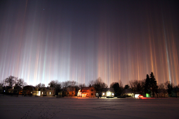 Light pillars, an atmospheric optical phenomenon