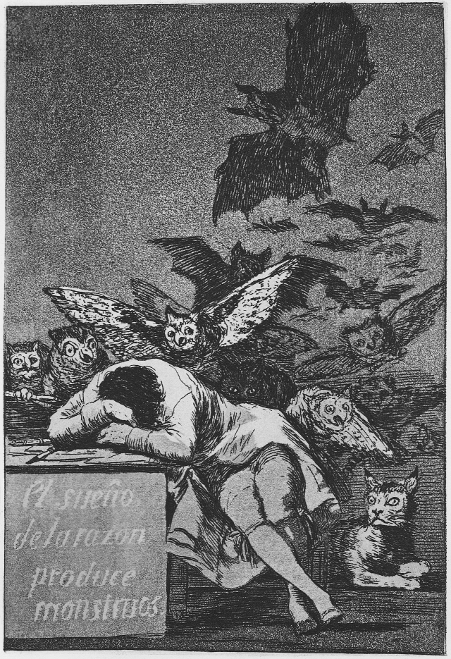 """The Sleep of Reason Produces Monsters"" Goya, 1799"