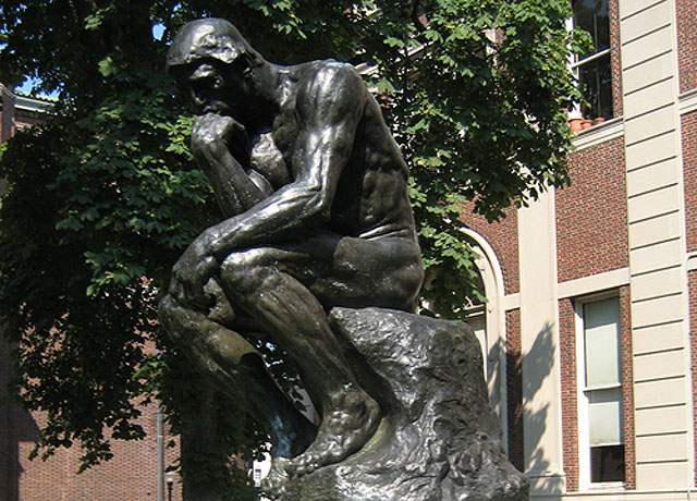 """Rodin"" in front of Columbia University's Philosophy Hall"