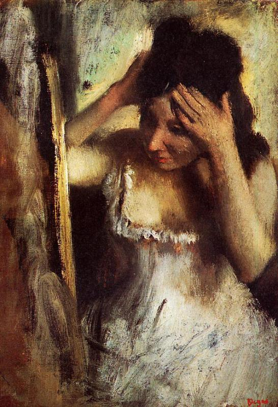 """Woman Combing Her Hair Before a Mirror"" Degas, 1877"