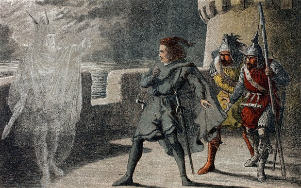 Hamlet with Horatio and Marcellus being confronted by the ghost of Hamlet's father. Chromolithograph Illustration by Robert Dudley,1856-1858